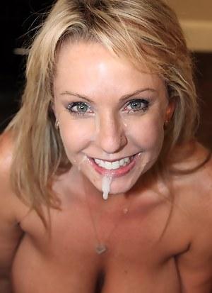 Cum on Mature Face Porn Pictures